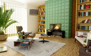 Picture design, room, interior, carpet, chair, fireplace, table, shelves