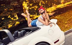Picture car, girl, shorts, long hair, legs, photo, photographer, barefoot, model, bokeh, lips, face, blonde, body, …
