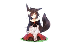 Picture girl, white background, ears, Original, Animal Ears, Tail