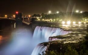 Picture trees, night, bridge, lights, river, rocks, waterfall, home, New York, lights, USA, Niagara falls, rays …