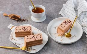 Picture tea, Cup, cake, glaze