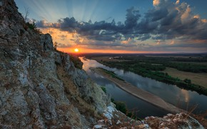 Picture the sun, landscape, mountains, nature, river, dawn, morning, White, Ural