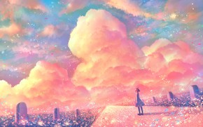 Picture road, the sky, girl, sunset