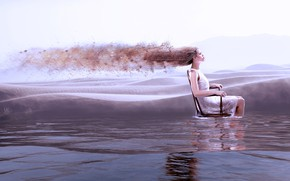 Picture water, girl, rendering, hair, chair, dress, profile, sitting, pond, photoart, the collapse
