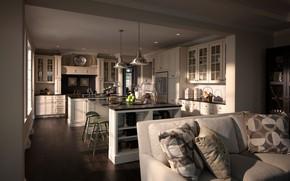 Picture sofa, interior, kitchen
