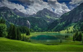 Picture mountains, lake, Switzerland, Lauenen