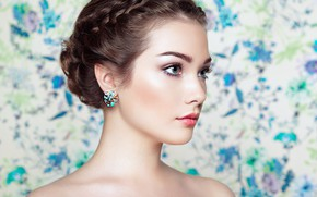 Picture look, girl, portrait, earrings, makeup, Oleg Gekman, Alexander Brocca