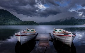 Picture Japan, boats, Twins, Gunma, after the rain, after the storm, romantic place, Haruna Lake