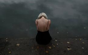 Picture autumn, leaves, girl, back, Juliana Naidenova