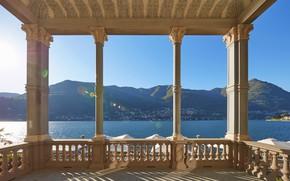 Picture lake, Italy, columns, the hotel, terrace, Como, Mandarin Oriental, Blevio