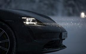 Picture light, snow, black, Porsche, the front part, 2020, Taycan, Taycan 4S