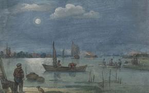 Picture figure, Hendrick Avercamp, Hendrick Avercamp, Fishermen in the moonlight