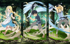 Picture forest, children, collage, characters, Sword art online, Sword Art Online