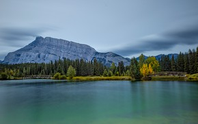 Picture autumn, forest, the sky, mountains, rocks, shore, the slopes, tops, view, ate, Canada, Albert, the …