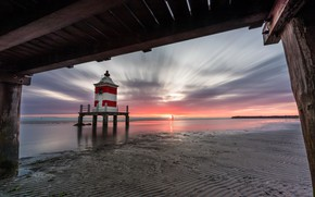 Picture sea, shore, lighthouse, Italy, Friuli-Venezia Giulia, Lignano Sabbiadoro