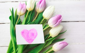 Picture love, flowers, heart, bouquet, tulips, love, pink, heart, pink, flowers, beautiful, romantic, tulips, valentine's day, …