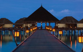 Picture the ocean, the evening, pier, lights, The Maldives, resort, Bungalow