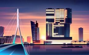 Picture Sunset, Minimalism, Bridge, The city, River, Style, Building, The building, The ship, Architecture, Art, Romain …