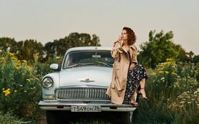 Picture machine, auto, girl, nature, pose, cigarette, cloak, Volga, Рустам Рахимов, Яна Рахимова