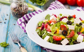 Picture tomatoes, salad, olives, Greek, cheese