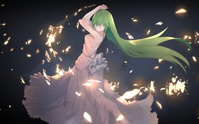 Picture girl, background, green hair