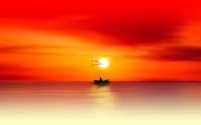 Picture sea, the sun, birds, dawn, boat, morning, silhouette, sea, dawn, silhouette, angler, angler fishing