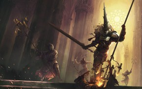 Picture dark, sword, fantasy, cathedral, armor, Warrior, battle, digital art, fighting, artwork, mask, candle, fantasy art, …