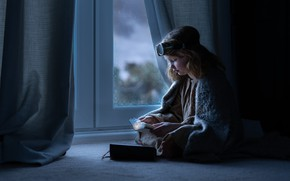 Picture house, window, girl, diary