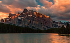 Picture the sky, clouds, light, trees, mountains, lake, rocks, shore, tops, the evening, ate, Canada, Albert, …
