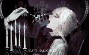 Picture hand, candles, boy, Halloween, diamond, plug, glove