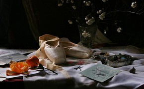 Picture decoration, the dark background, table, shoes, bouquet, still life, jewelry, items, ballet, composition, Mandarin, Pointe …