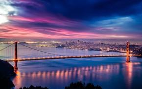 Picture city, lights, USA, Golden Gate Bridge, twilight, skyline, sky, sea, bridge, sunset, California, clouds, evening, …