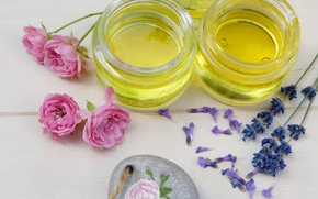 Picture oil, roses, jars, lavender, Spa, aromatherapy