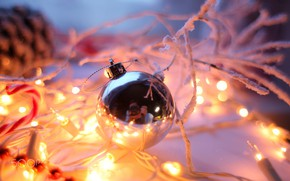 Picture garland, new year's eve ball, blur bokeh