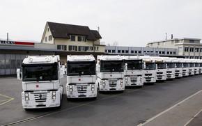 Picture trucks, Renault, a number, white, Magnum, Premium Route, Midlum, Renault Trucks