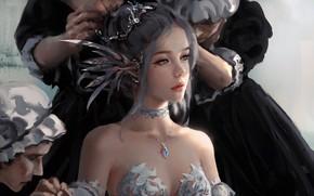 Wallpaper girl, fantasy, dress, blue eyes, lips, face, elf, digital art, artwork, princess, situation, fantasy art, ...