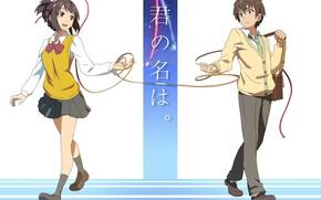 Picture girl, anime, art, guy, two, Still, tachibana taki, miyamizu mitsuha, Kimi no VA On, Mitsuha