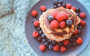 Picture berries, raspberry, blueberries, fur, stack, dish, submission, pancakes
