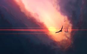 Picture sky, sunset, art, clouds, birds, sun, artist, digital art, artwork, JoeyJazz