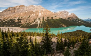 Picture forest, the sky, clouds, landscape, mountains, nature, lake, reflection, shore, the slopes, tops, height, ate, …