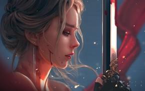 Picture girl, sword, blood, fantasy, blue eyes, artist, blonde, digital art, artwork, fantasy art, fantasy girl, …