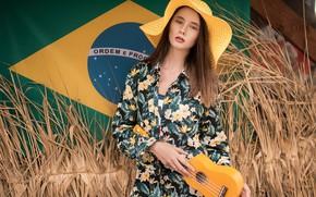 Wallpaper model, Girl, hat, figure, dress, flag, hairstyle, ukulele, Disha Shemetova, Oleg Demyanchenko