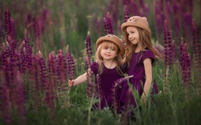 Picture flowers, children, mood, girls, meadow, hats, lupins, two girls