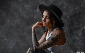 Picture girl, face, pose, background, mood, hand, portrait, hat, Mike, tattoo, Knight Of Milan