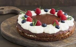 Picture berries, raspberry, blueberries, pie, cakes