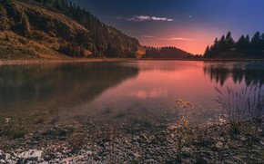 Picture landscape, sunset, mountains, nature, lake