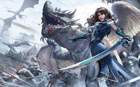 Picture Girl, Dragon, War, Armor, Girl, Sword, Warrior, Wings, Fantasy, Dragon, Art, Dragons, Warrior, Fiction, War, …