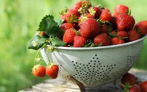 Picture summer, berries, harvest, strawberry, bokeh, дуршлыг