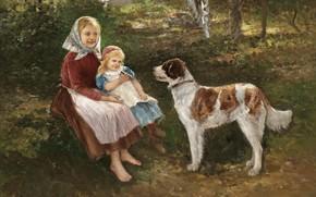 Wallpaper Swedish artist, Swedish painter, Johan Severin Nilson, Children and dog, A child and a dog, ...