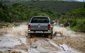 Picture water, squirt, Volkswagen, dirt, rear view, pickup, Amarok, 2020